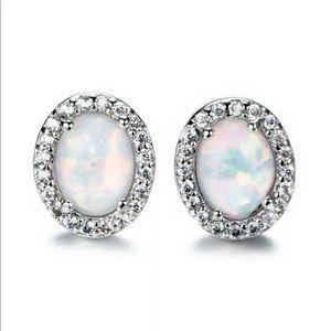Silver Opal & Rhinestone Stud Earrings